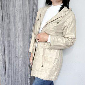 J.Jill Linen metallic hooded utility jacket 0235